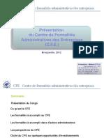 Présentation Du Centre de Formalités Des Entreprises (CFE) Guichet Unique