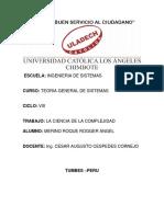 Resumen de Las Ciencias de La Complejidad - Merino Roque Rogger Angel