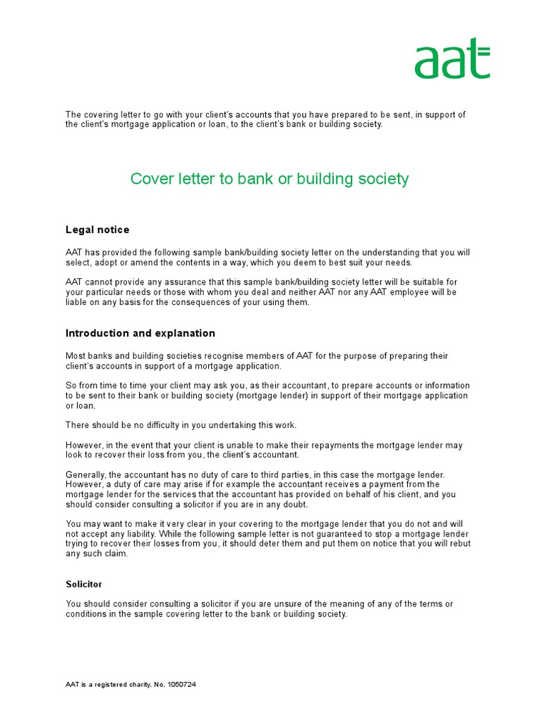 Covering Letter To Bank Or Building Society Mortgage Loan Loans