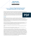 2012 Position Statement Regarding Psychoanalysts