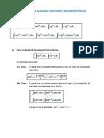 Integrales de Algunas Funciones Trigonométricas