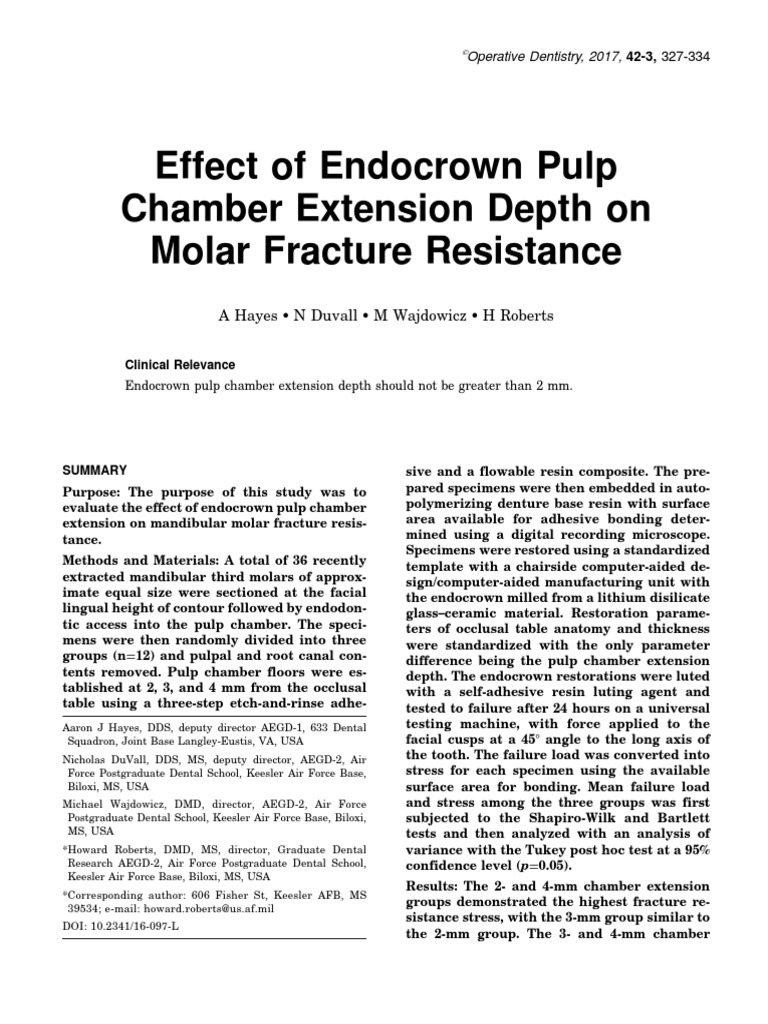 Effect of Endocrown Pulp Chamber Extension Depth on Molar Fracture ...