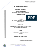 FUNCIONES DEL  DEPARTAMENTO DE RELACIONES INDUSTRIALES