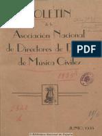 Boletín de La Asociación Nacional de Directores de Bandas de Música Civiles. 1-6-1935, n.º 1