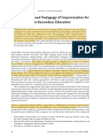 A Cognition-Based Pedagogy of Improvisation for Post-Secondary Education