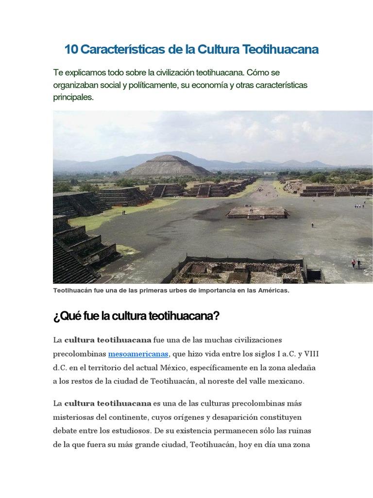 10 Características de La Cultura Teotihuacana