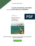 La Distancia Que Nos Separa Spanish Edition by Renato Cisneros
