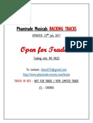 Phantrade Musicals BACKING TRACKS   Musical Theatre