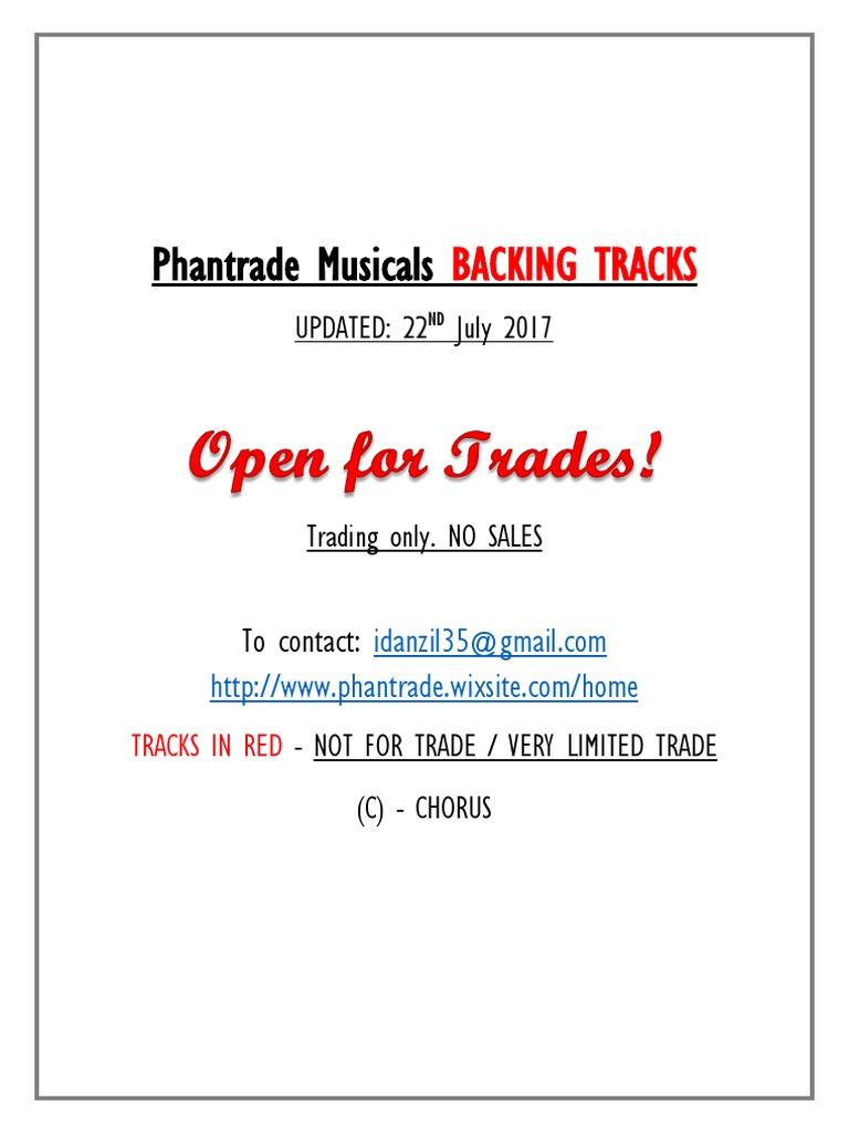 Phantrade Musicals BACKING TRACKS   Teatro Musical   Artes