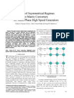 Study of asymmetrical regimes in matrix converters for multi-phase high speed generators