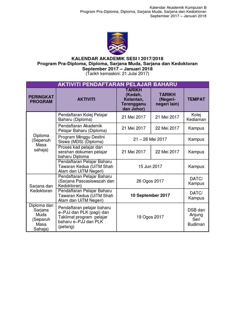 Kalendar Akademik Kumpulan B Program September 2017 Januari 2018