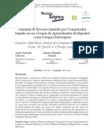 Análisis de Errores Asistido Por Computador Basado en Un Corpus de Aprendientes de Español Como Lengua Extranjera