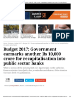 Budget 2017_ Government Earmarks Another Rs 10,000 Crore for Recapitalisation Into Public Sector Banks _ the Indian Express
