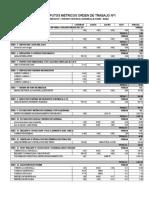 Computos Metricos Para Orden de Trabajo Nº 1 - Puente Av. Bahia