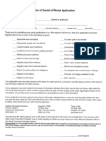 Letter of Denial of Application Form Template