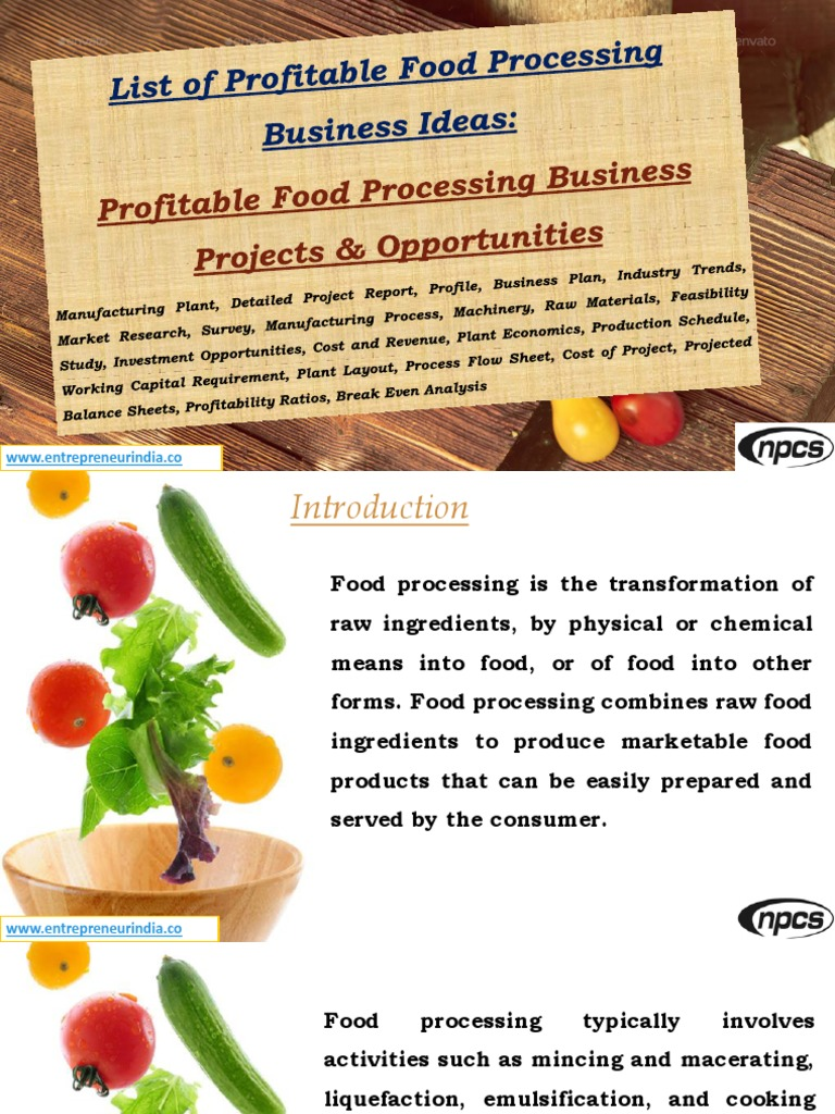 List Of Profitable Food Processing Business Ideas Projects Opportunities Manufacturing Plant Detailed Project Report