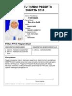 Kartu Pendaftaran SNMPTN 2016 4160109299