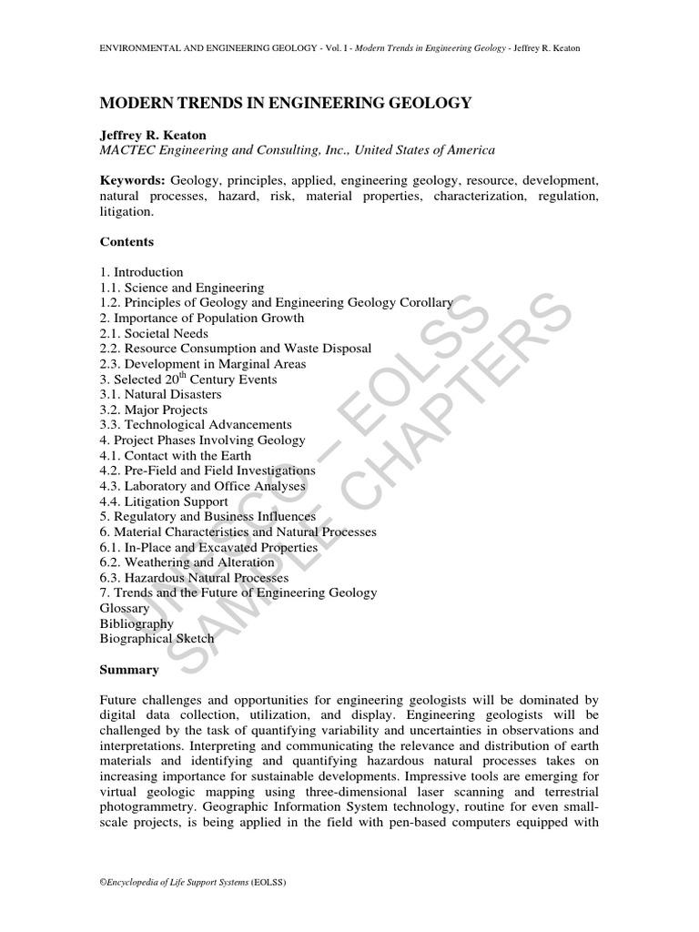 modern trend in engineering geology geology waste rh scribd com