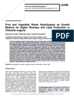 Fruit and Vegetable Waste Hydrolysates as Growth Medium for Higher Biomass and Lipid Production in Chlorella vulgaris