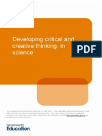 Developing Critical and Creative Thinking - In Science