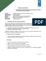 TDR PNUD Consultor Base de Datos