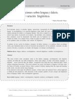 Algunas concepciones sobre lengua y dialecto, sociolingüística  y variación  lingüística