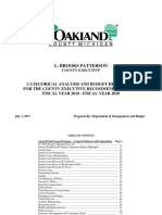 Oakland County FY 2018 through FY 2020 Categorical Analysis and Budget Highlights