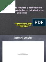 Sustancias de Limpieza y Desinfección Permitidas y Prohibidas en La Industria de Alimentos