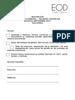 2. Ficha de inscripción EOD Talleres Continuos / Agosto - Septiembre 2017