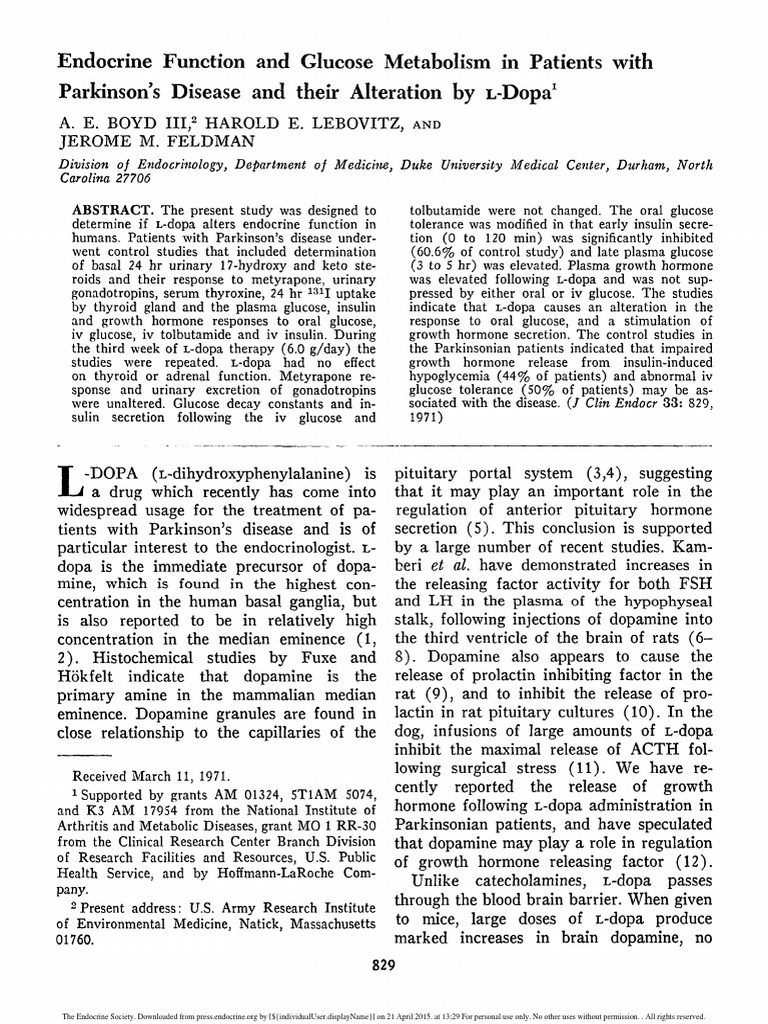 Endocrine Function and Glucose Metabolism in Patients With