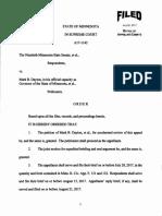 MN Supreme Court order for oral arguments in Legislature v Gov. Dayton Case