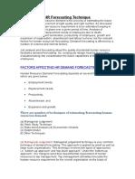 HR Forecasting Technique