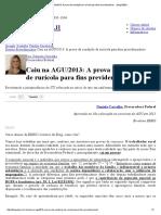Caiu Na AGU_2013_ a Prova Da Condição de Rurícola Para Fins Previdenciários