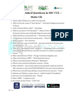 Previously Asked Questions in SSC CGL Static Gk