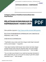 Silabus Pelatihan Komunikasi Dan Kepribadian _ Pt Djajendra Motivasi Unggul - Corporate Motivator