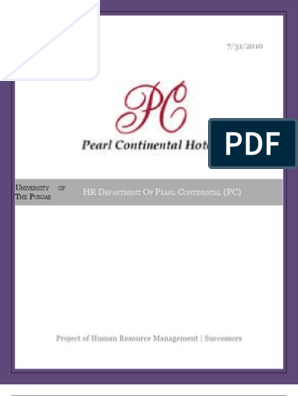 HR Department of Pearl continential | Performance Appraisal | Human
