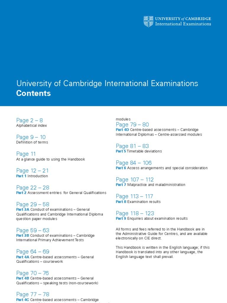 cie 2010 handbook for centres igcse o levels a levels test