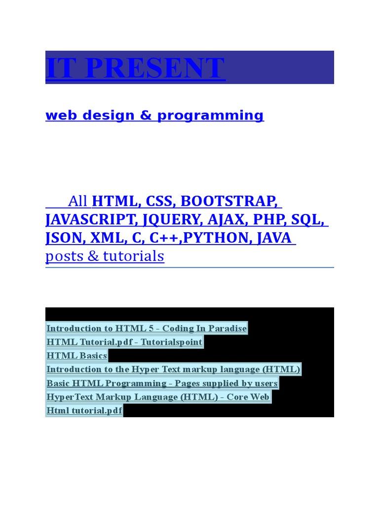 Html Css Bootstrap Javascript Jquery Ajax Php Sql Json Xml C C Python Java Tutorials Ajax Programming Json
