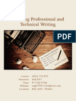 Teaching Professional and Technical Writing (ENGL 775 Syllabus, Fall 2017)