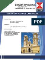 Informe de La Iglesia San Pedro de Lambayeque