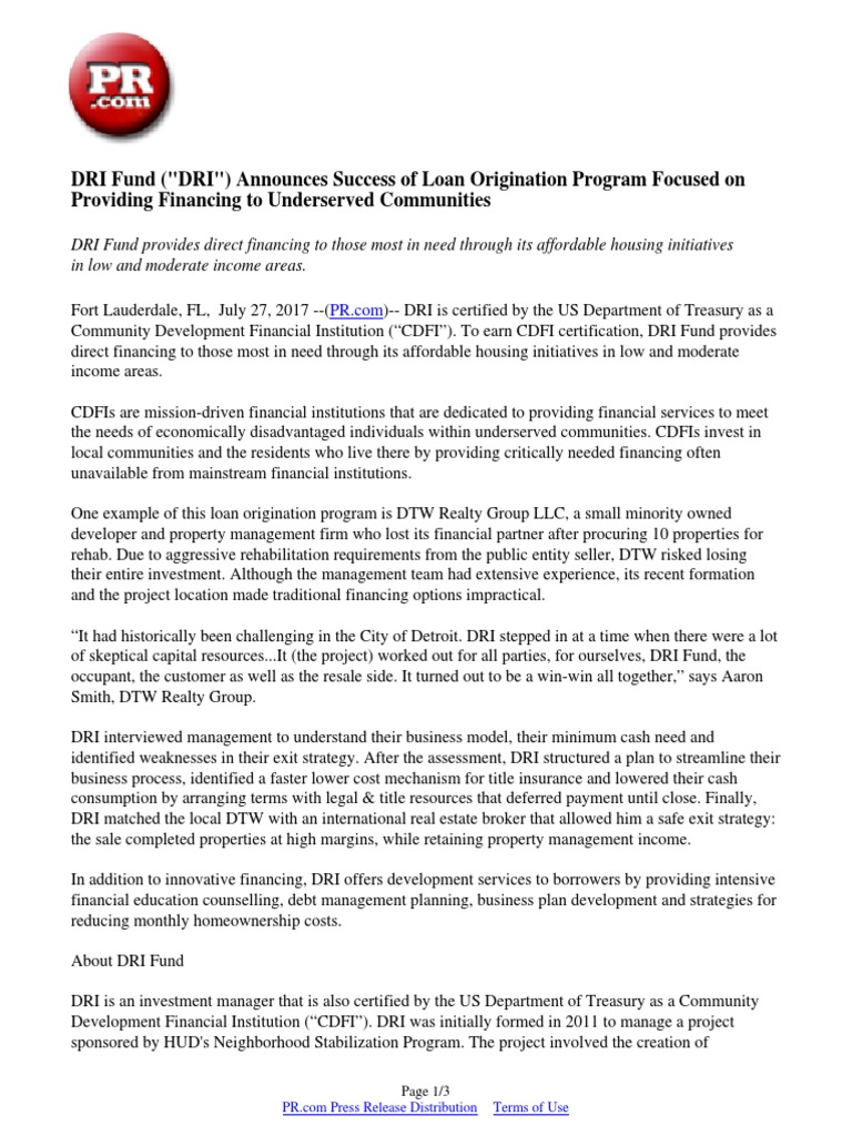 Dri Fund Dri Announces Success Of Loan Origination Program