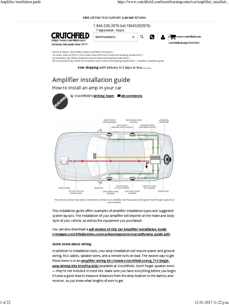 amplifier installation guide amplifier loudspeaker rh es scribd com crutchfield amp install guide crutchfield car stereo installation guide
