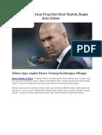 Masalah Bale Akan Pergi Dari Real Madrid, Begini Kata Zidane