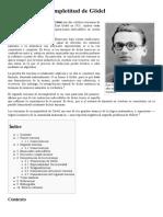 Teoremas de Incompletitud de Gödel