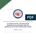 La Democracia y los Derechos Humanos en El Primer Año de Gobierno de Pedro Pablo Kuczynski