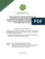 Evolução Do Teor de Nitritos e de Nitratos e Da Concentração de Pigmentos No Fiambre e Na Mortadela Ao Longo Do Seu Processo Produtivo e Do Seu Prazo de Vida Útil - Ganhão 2010