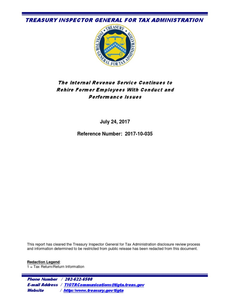 TIGTA Report on IRS Rehiring Terminated Employees   Internal
