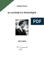 GORZ André - Ecologie Et Politique 1975-1978 SCAN PDF [Cobayes Lettrés]