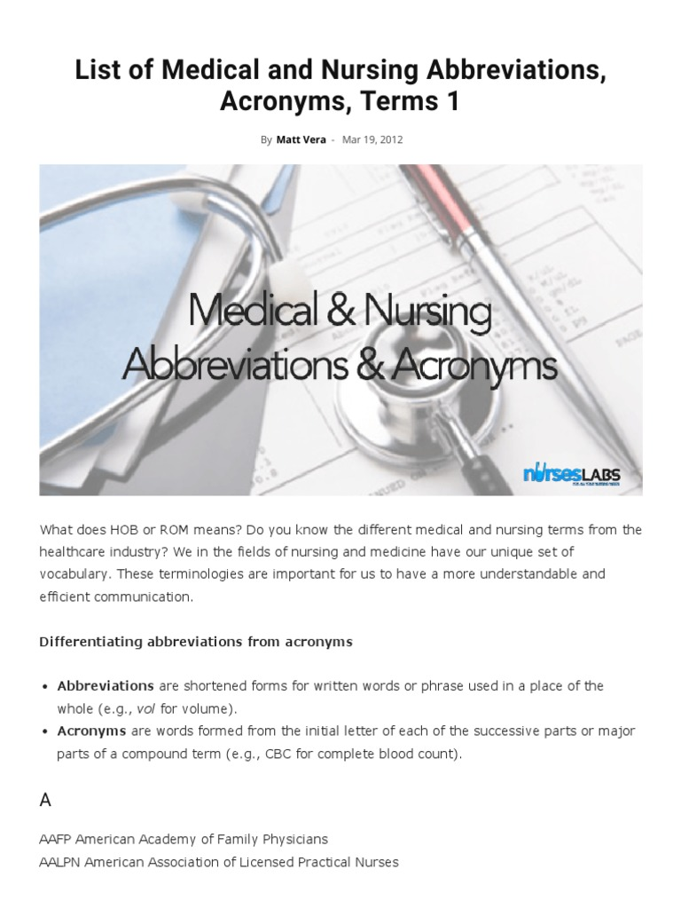 Medical abbreviations tha - List Of Medical And Nursing Abbreviations Acronyms Terms 1 Nurseslabs Heart Physical Therapy