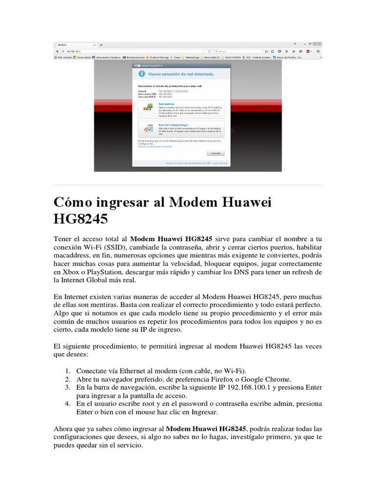Cómo ingresar al Modem Huawei HG8245 docx